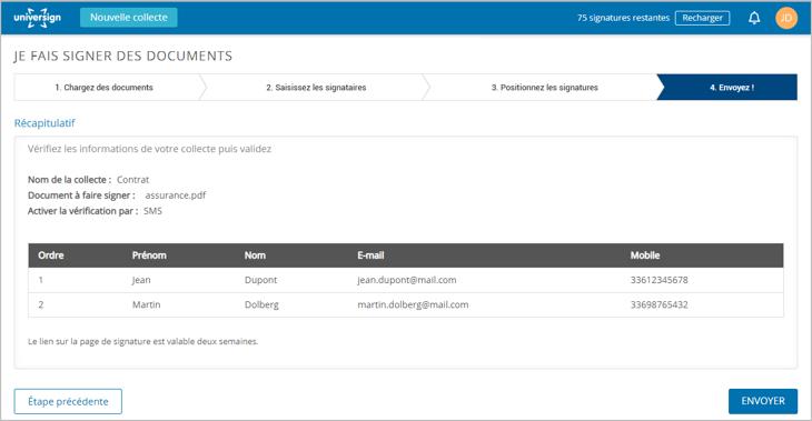 validez et envoyez - signature électronique